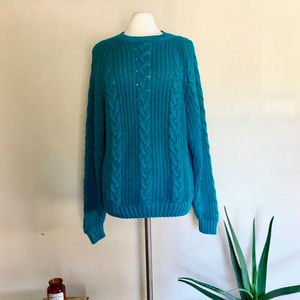 Turquoise Cable Knit Sweater